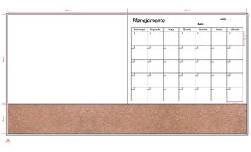Quadro misto, branco com planemento mensal e cortiça, medida 243x123cm.